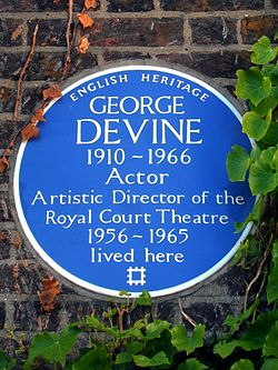 George devine 1910 1966 actor artistic director of the royal court theatre 1956 1965 lived here