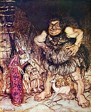 """The giant Galligantua and the wicked old magician transform the duke's daughter into a white hind."" illustration by Arthur Rackham, depicting a magician with a wand"
