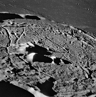 Rille - Rimae on the floor of the lunar crater Gassendi, from Apollo 16.