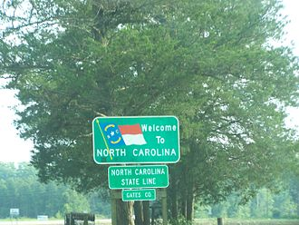 Gates County, North Carolina - A welcome sign at the NC state line on U.S. 13 is visible in this shot.
