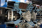 Gearbox, inlet and compressors of sectioned Rolls-Royce Dart turboprop 01.jpg
