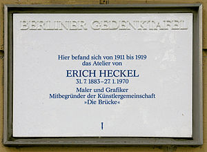 Erich Heckel - Plaque commemorating Heckel in Berlin