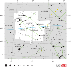 Diagram showing star positions and boundaries of the constellation of Gemini and its surroundings