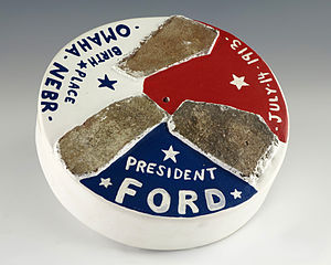 Gerald R. Ford Birthsite and Gardens - Plaster of Paris disc composed of three pieces of bricks from Gerald R. Ford's birthplace in Omaha, Nebraska.
