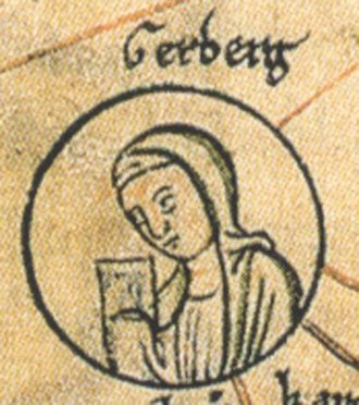 Gerberga of Saxony - Image of Gerberga taken from a miniature depicting the genealogy of the Ottonian dynasty in the Chronica St. Pantaleonis, 2nd half of 12th century (Herzog August Bibliothek, Wolfenbüttel, Cod. Guelf. 74.3 Aug., pag. 226)