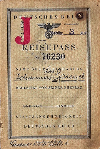 "German passport stamped with a ""J""; this passport was used to escape Europe in 1940 German J stamped passport used to escape Europe in 1940.jpg"