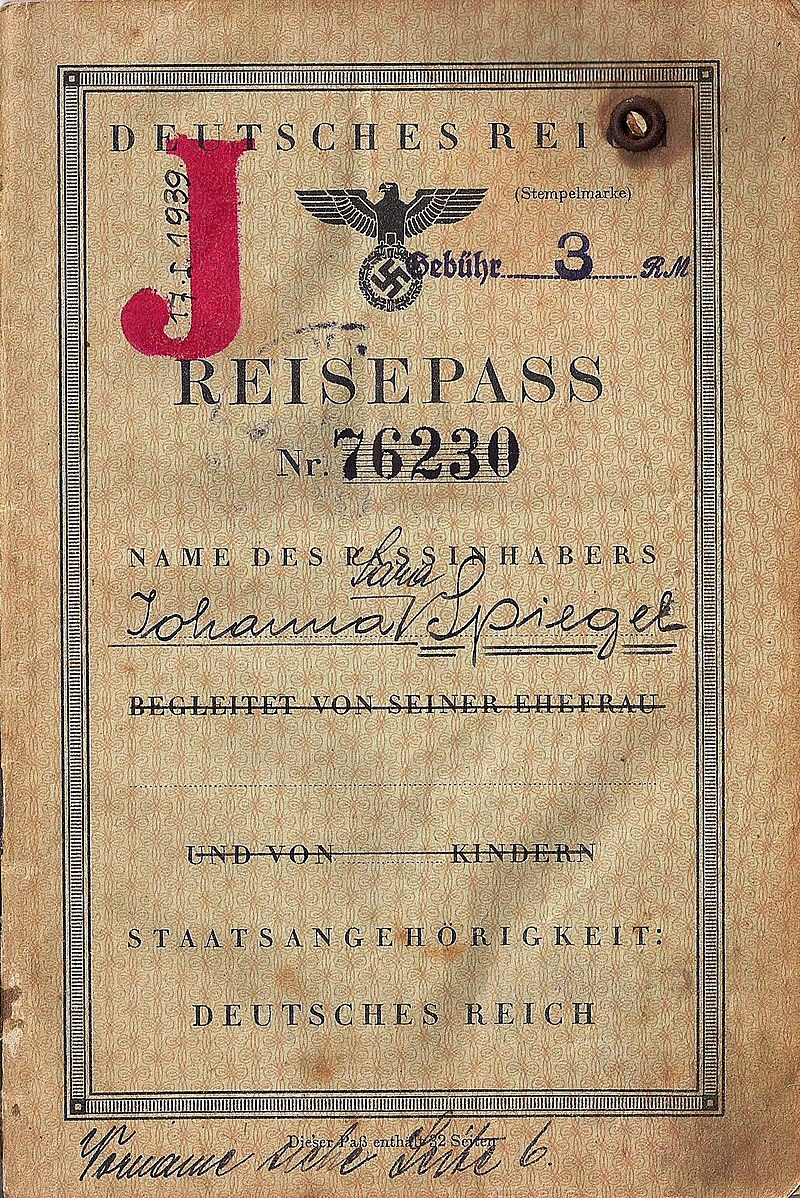 German J stamped passport used to escape Europe in 1940.jpg
