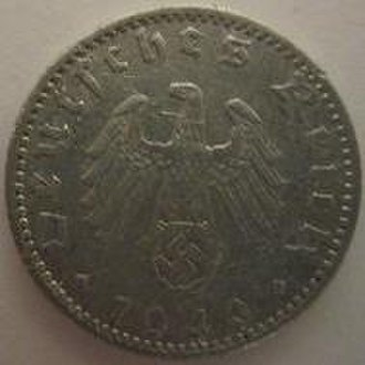 50 Reichspfennig (World War II German coin) - Image: Germany 50 reichspfennig 1940 obverse