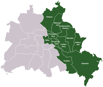 Germany divided Berlin East district names