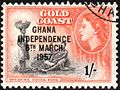 Ghana Independence overprint on Gold Coast 1s stamp 1957.jpg