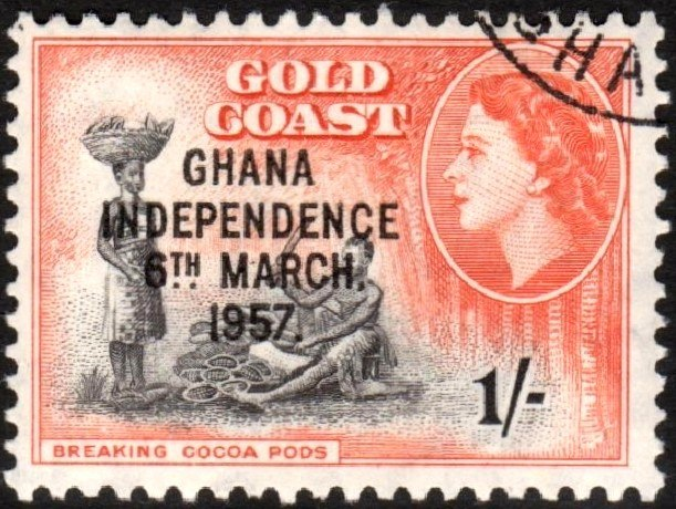 Ghana Independence overprint on Gold Coast 1s stamp 1957
