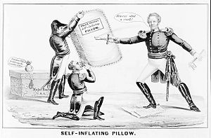 Gideon Johnson Pillow - 1840s newspaper cartoon depicting Pillow's self-promoting attempts to discredit Mexican-American War commander General Winfield Scott-a pun of Pillow's name