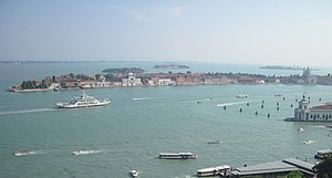 Giudecca Canal - Giudecca Canal (middle), and the Grand Canal with Punta della Dogana (lower right).
