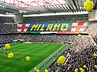 Inter created display in their curva at the Stadio Giuseppe Meazza.