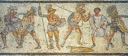 Photo d'une mosaïque représentant un combat de gladiateurs