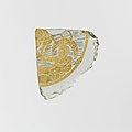 Glass bowl fragment with gold leaf and painted decoration MET DP107355.jpg