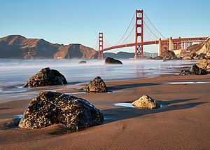 Golden Gate Bridge as seen from Marshall's Beach, October 2017.jpg