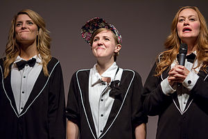 Mamrie Hart - Grace Helbig and Hannah Hart (who has no relation to Mamrie) onstage with Mamrie at No Filter in Portland, Oregon, in December 2013