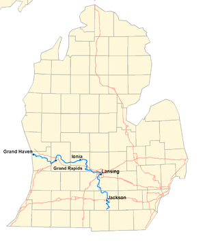 Map of the Grand River in Michigan