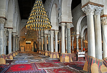 The hypostyle prayer hall in the Great Mosque of Kairouan, Tunisia