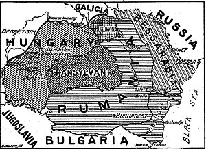 Treaty of Bucharest (1916) - Proposed demarcation line with Hungary. Note that the 1916 treaty did not give Bessarabia to Romania.