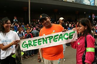 Alternative media - Protester at a Greenpeace march in 2009.