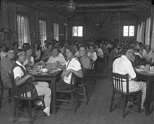 Griffith Park - Girls eating in the mess hall of Griffith Park Girls' Camp, circa 1920