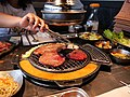 Grill meats from stove in the table.jpg