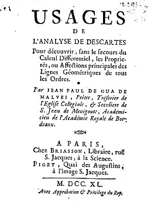 Jean Paul de Gua de Malves - Usages de l'analyse de Descartes, 1740