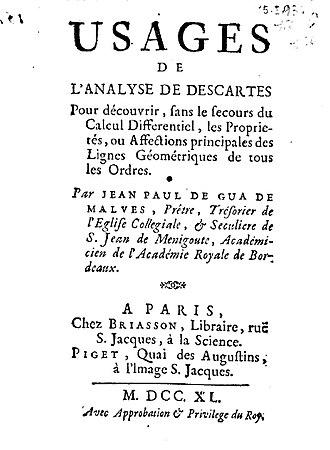 Jean Paul de Gua de Malves - Usages de l'analyse de Descartes, 1740