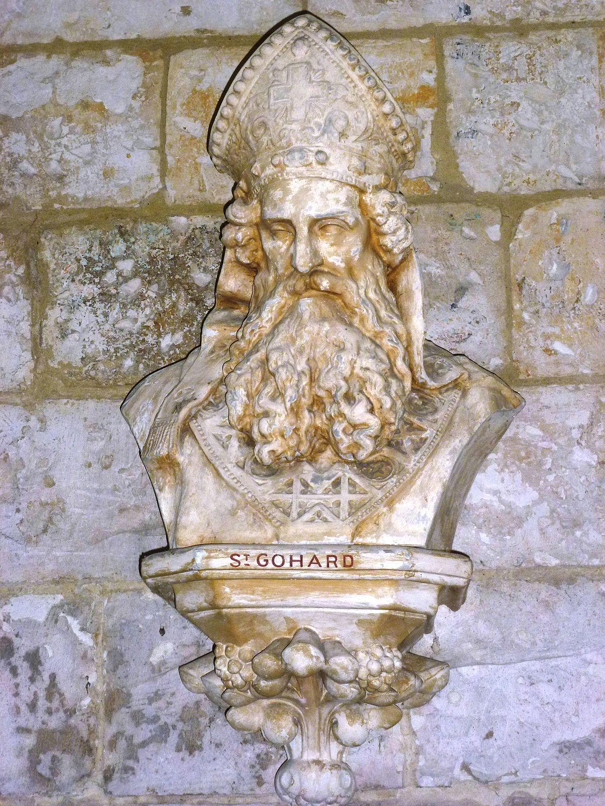 Byste av den hellige Gohard i kirken Saint-Nicolas i Pas-de-Calais