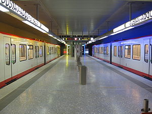 Nuremberg U-Bahn - Station Gustav-Adolf-Straße with DT3 units at the platform