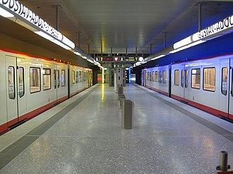 Nuremberg U-Bahn - Station Gustav-Adolf-Straße with DT3 units at the platform