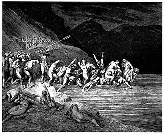 Charon - In the Divine Comedy, Charon forces reluctant sinners onto his boat by beating them with his oar. (Gustave Doré, 1857).