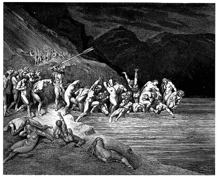 File:Gustave Doré - Dante Alighieri - Inferno - Plate 10 (Canto III - Charon herds the sinners onto his boat).jpg