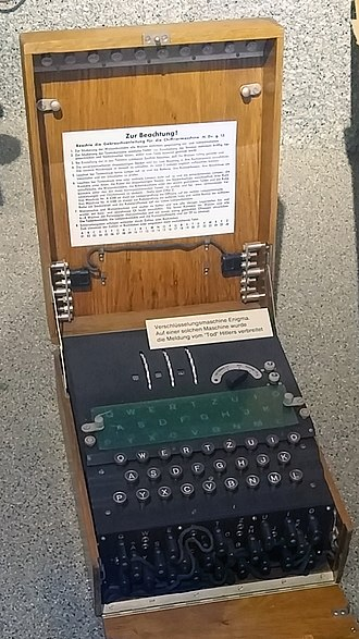 Substitution cipher - Enigma cipher machine as used by the German military in World War II