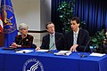 HHS Secretary Kathleen Sebelius, Director of the Office of Consumer Information and Insurance Oversight Jay Angoff and Rhode Island Health Insurance Commissioner Christopher F. Koller at a press conference.jpg