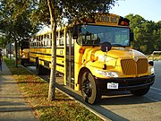 A Houston ISD CE300 school bus made by IC Corporation; the bus is one of 120 newly-manufactured at the time school buses delivered to Houston ISD fleet in 2006 [16].