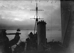 HMS Sheffield (C24) - View of an Arctic convoy from Sheffield