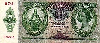 Hungarian pengő - 10 pengő, 1936