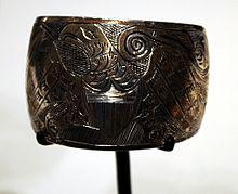 bdd2f2de0 Haida silver bracelet featuring an American eagle, c. 1900, Seattle Art  Museum