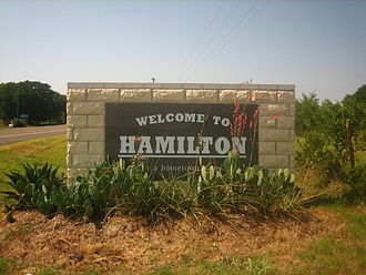 Hamilton, Texas - Welcome sign in Hamilton