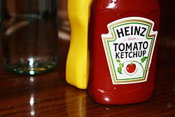 A bottle of Heinz Tomato Ketchup.