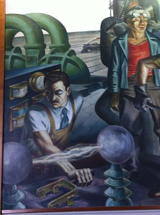 """Harry Sternberg - Muralist, Harry Sternberg, depicting a scientist in his mural """"Chicago:Epoch of a Great City"""""""