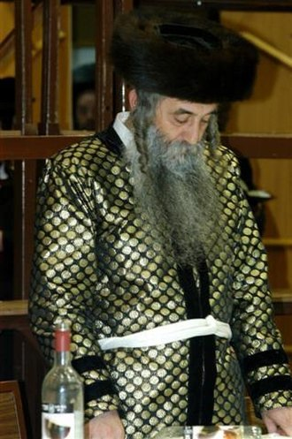 Hasidic Judaism - The Dorohoi Rebbe in his traditional rabbinical Sabbath garb