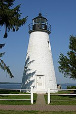 Havre de Grace's Concord Point Lighthouse, located where the Susquehanna River empties into the Chesapeake Bay.