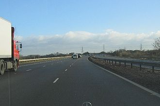 M69 motorway - Heading east along the road