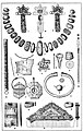 Heilbronn-Böckingen 1900 Zeichnung der Grabbeigaben aus einem fränkisch-alamannischen Frauengrab am Forchenweg in Böckingen aus dem 5. Jahrhundert.jpg