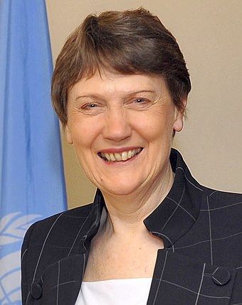 Former New Zealand Prime Minister Helen Clark served as Administrator of the United Nations Development Programme, a senior official at the UN, from 2009 to 2017. Helen Clark UNDP 2010.jpg