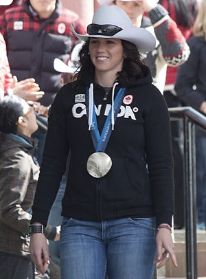Canada at the 2010 Winter Olympics - Helen Upperton displays the silver medal she won in the two-woman competition.